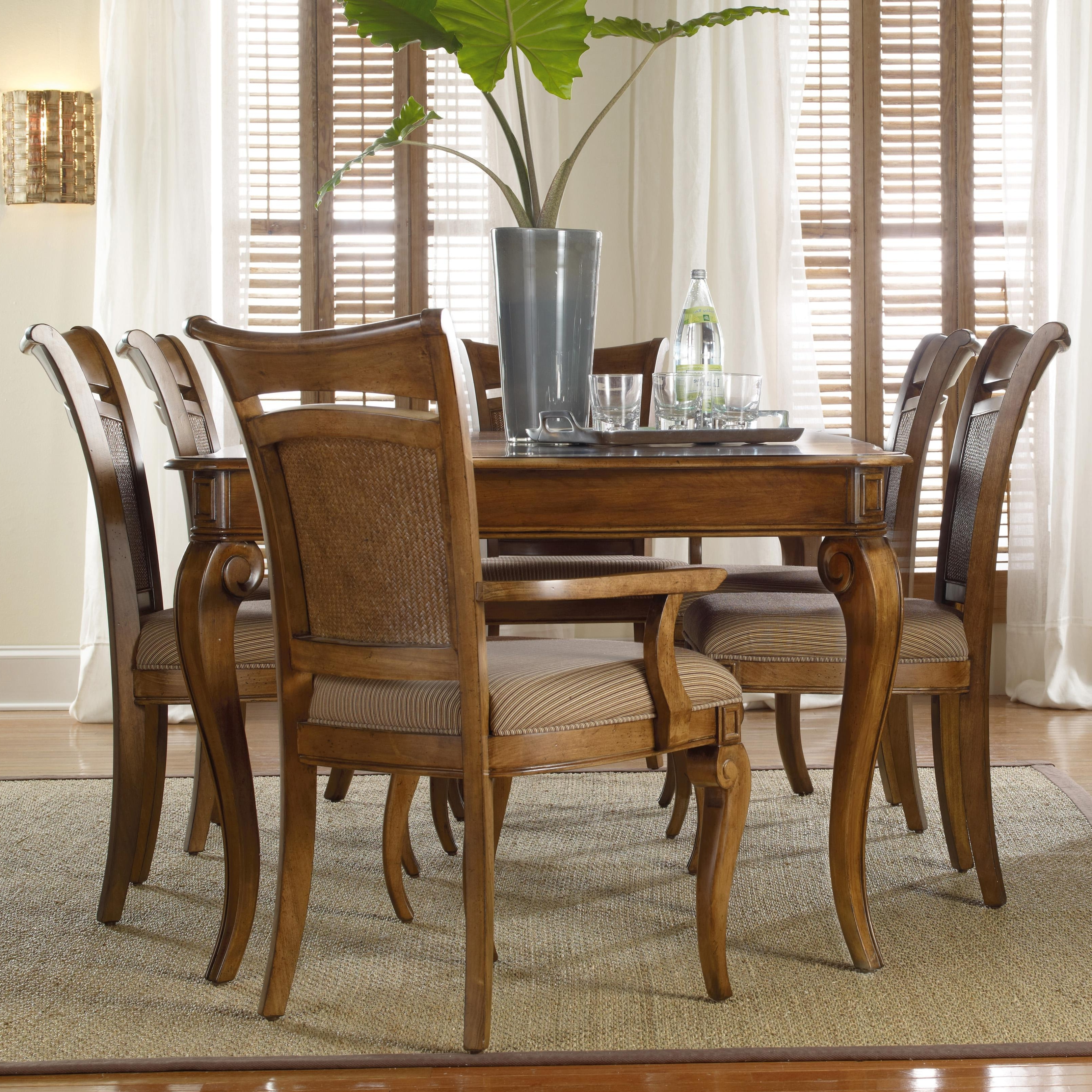 Most Recent Hooker Furniture Windward Rectangular Leg Dining Table & Raffia Within Norwood 6 Piece Rectangular Extension Dining Sets With Upholstered Side Chairs (View 19 of 25)