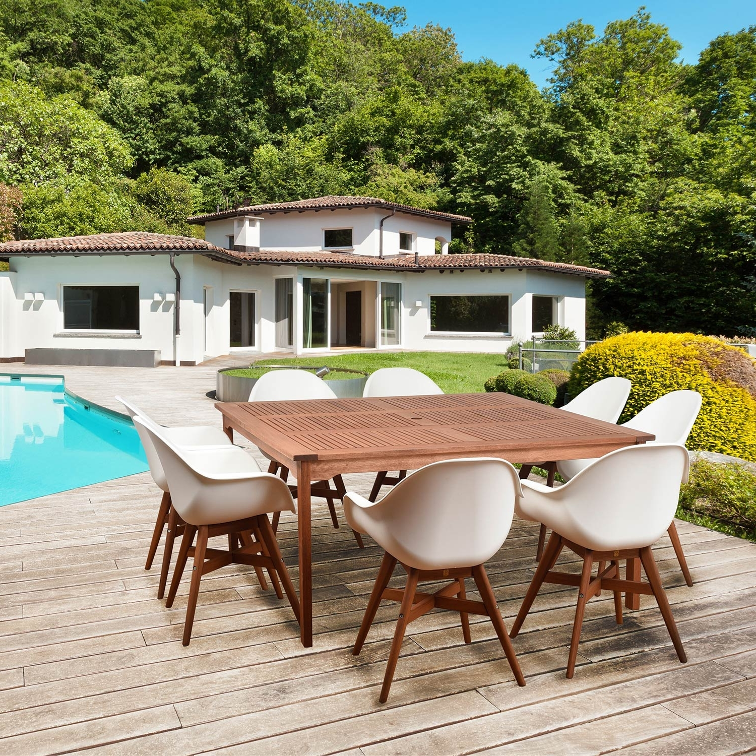 Most Recent International Home Miami Amazonia Charlotte Deluxe 9 Piece Square For Jaxon Grey 7 Piece Rectangle Extension Dining Sets With Uph Chairs (View 20 of 25)