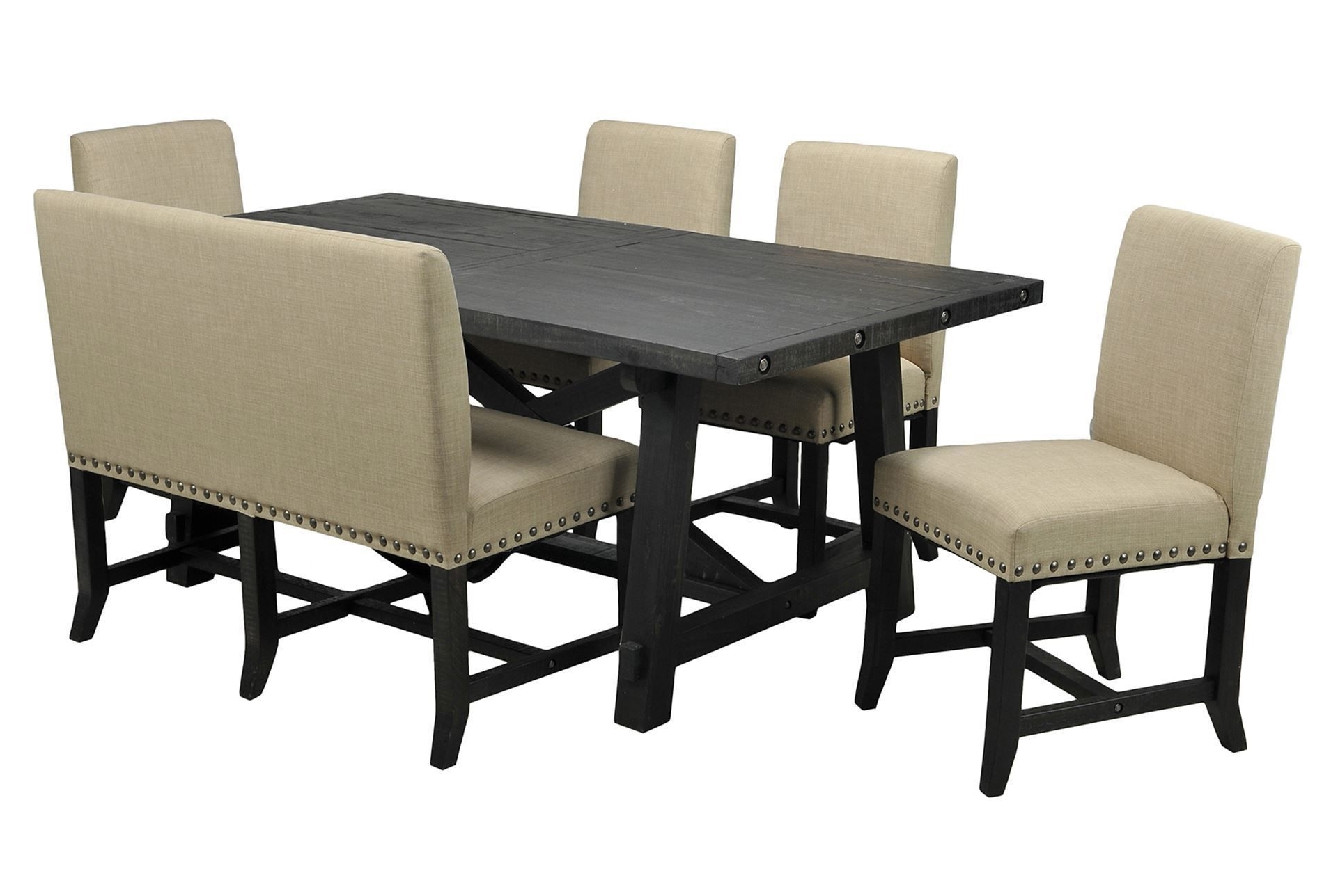 Most Recent Jaxon 6 Piece Rectangle Dining Sets With Bench & Wood Chairs Intended For Jaxon 6 Piece Rectangle Dining Set W/bench & Uph Chairs (View 2 of 25)