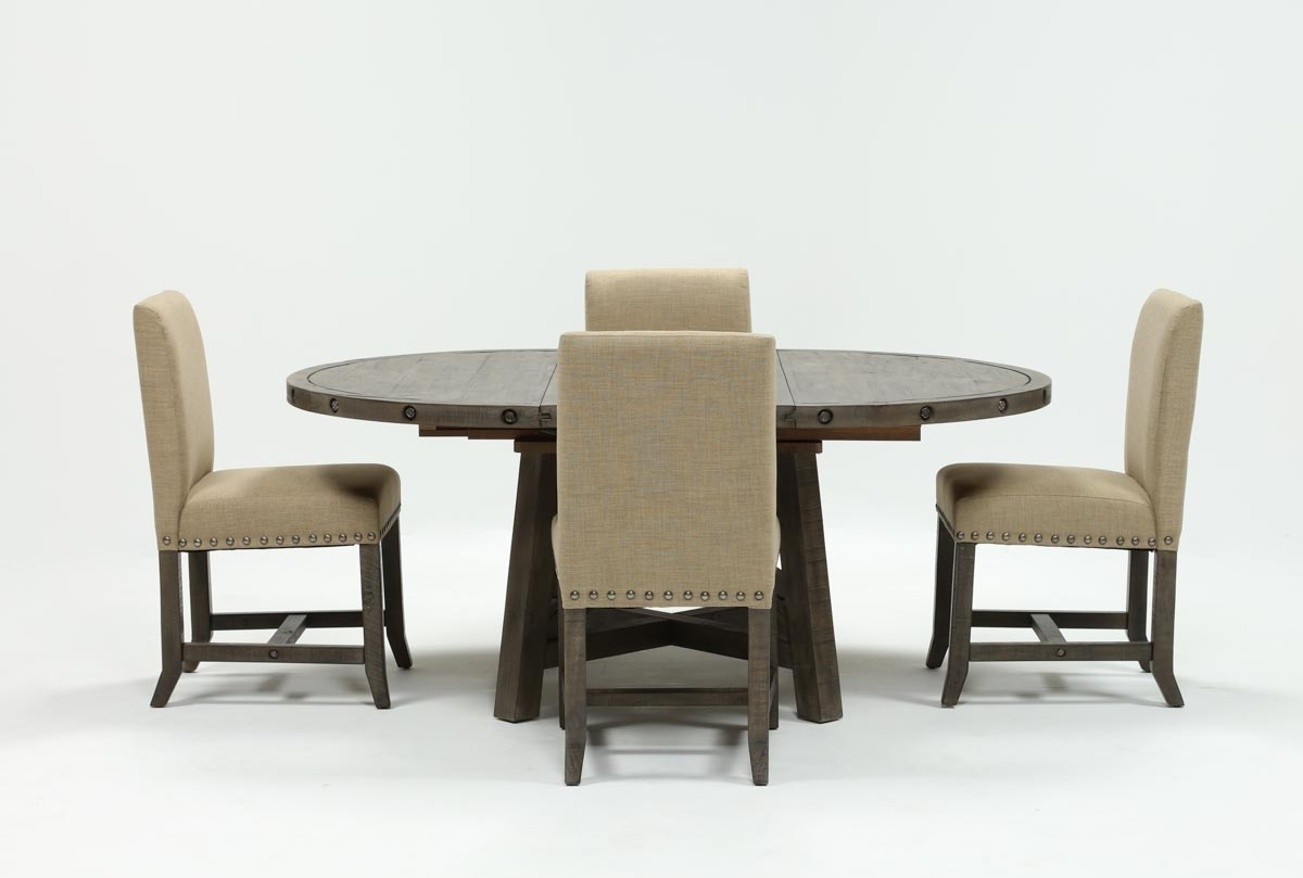 Most Recent Jaxon Grey Round Extension Dining Tables With Jaxon Grey 5 Piece Round Extension Dining Set W/upholstered Chairs (View 7 of 25)