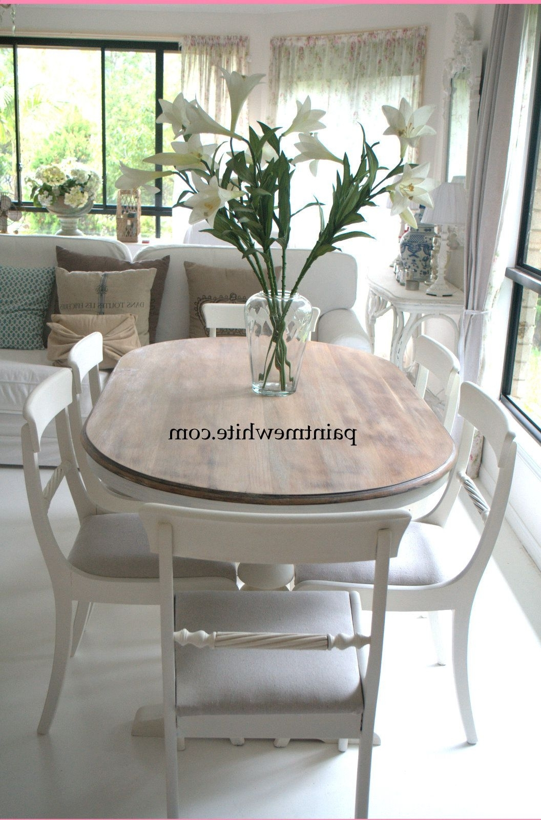 Most Recent Kirsten 6 Piece Dining Sets For Dining Table Makeover – Whitewash Table Top And White Chalk Paint (View 13 of 25)