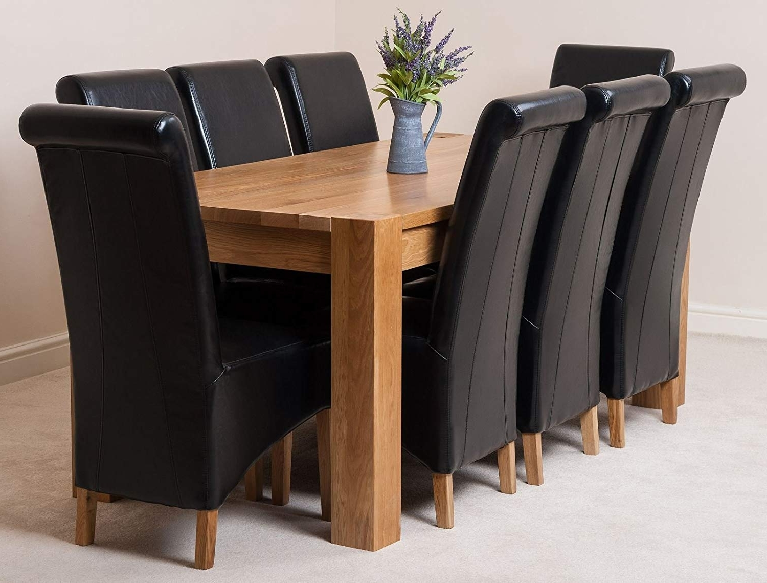 Most Recent Kuba Solid Oak 180 X 90 X 78 Cm Dining Room Kitchen Table & 8 Black Throughout Oak Dining Tables And Leather Chairs (View 9 of 25)