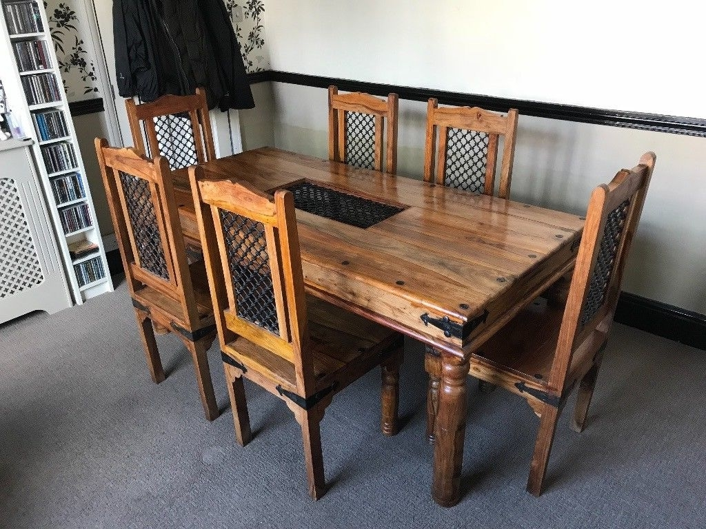 Most Recent Large Solid Sheesham Wood Jali Large Fixed Dining Table With 6 Within Sheesham Dining Tables (View 15 of 25)