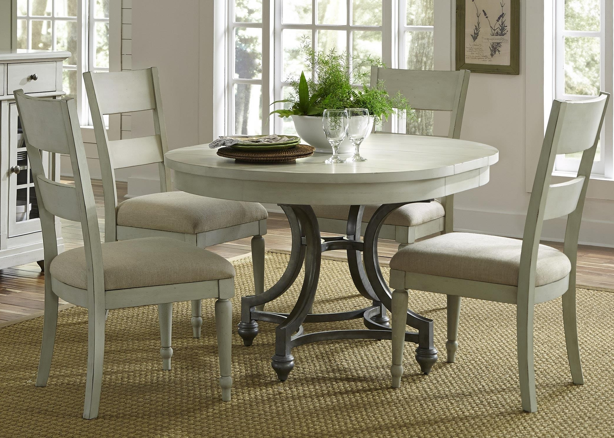Most Recent Liberty Furniture Harbor View Round Table With 4 Slat Back Chairs For Jaxon 5 Piece Round Dining Sets With Upholstered Chairs (Gallery 7 of 25)