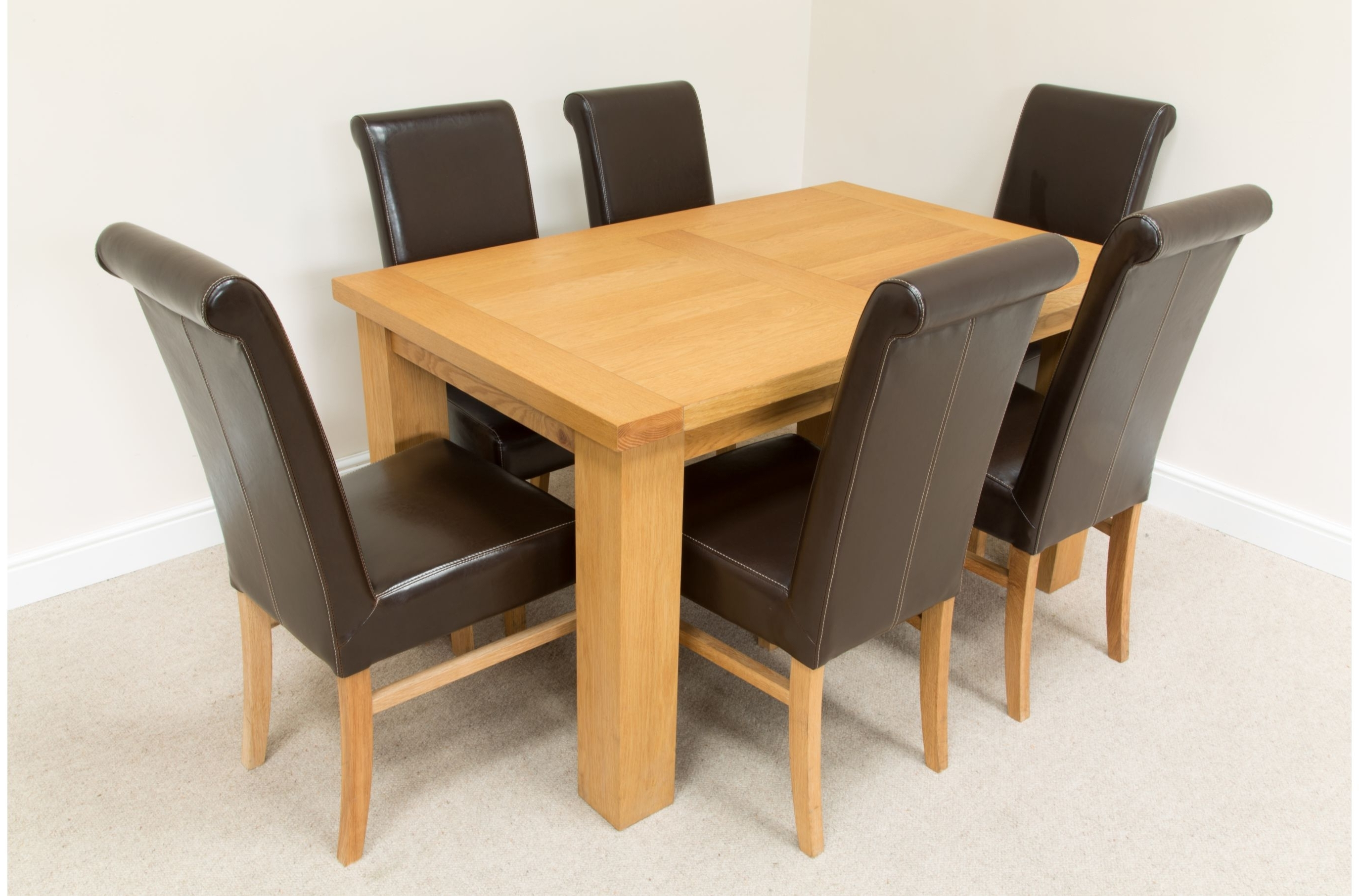 Most Recent Light Wood Table With Dark Chairs Oak Dining Table And 6 Black Throughout Light Oak Dining Tables And 6 Chairs (View 22 of 25)