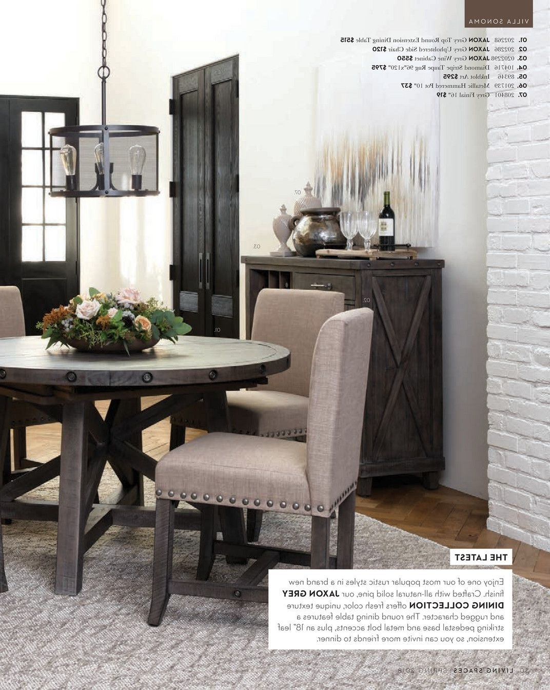 Most Recent Living Spaces – Spring 2018 – Jaxon Grey Round Extension Dining With Jaxon Round Extension Dining Tables (View 14 of 25)
