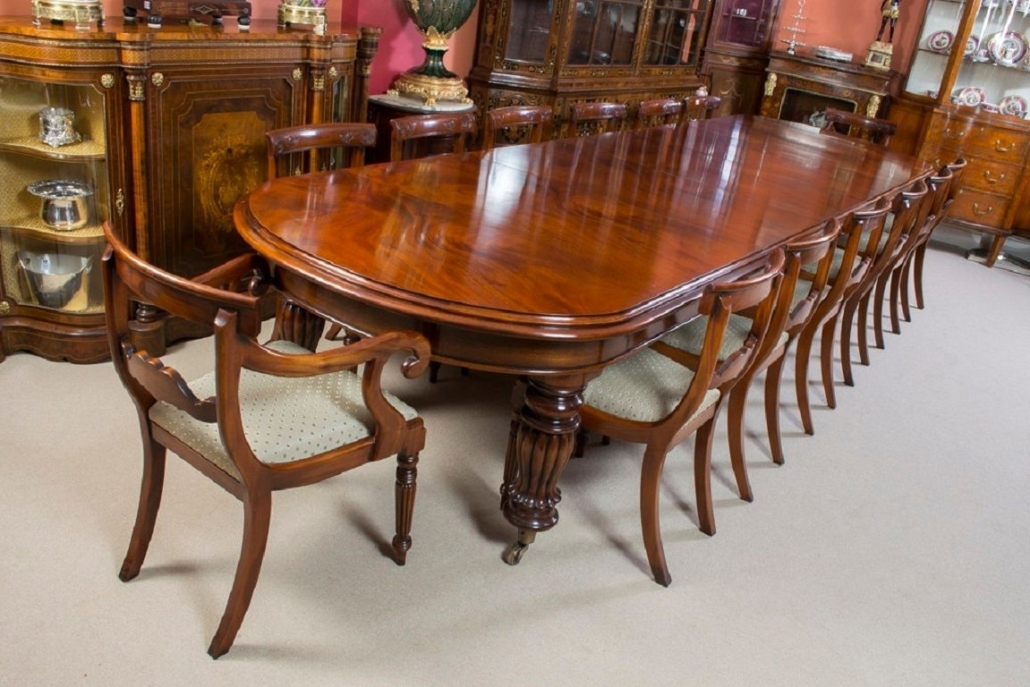 Most Recent Mahogany Dining Tables And 4 Chairs Pertaining To Vintage Victorian Mahogany Dining Table With 14 Chairs (View 17 of 25)
