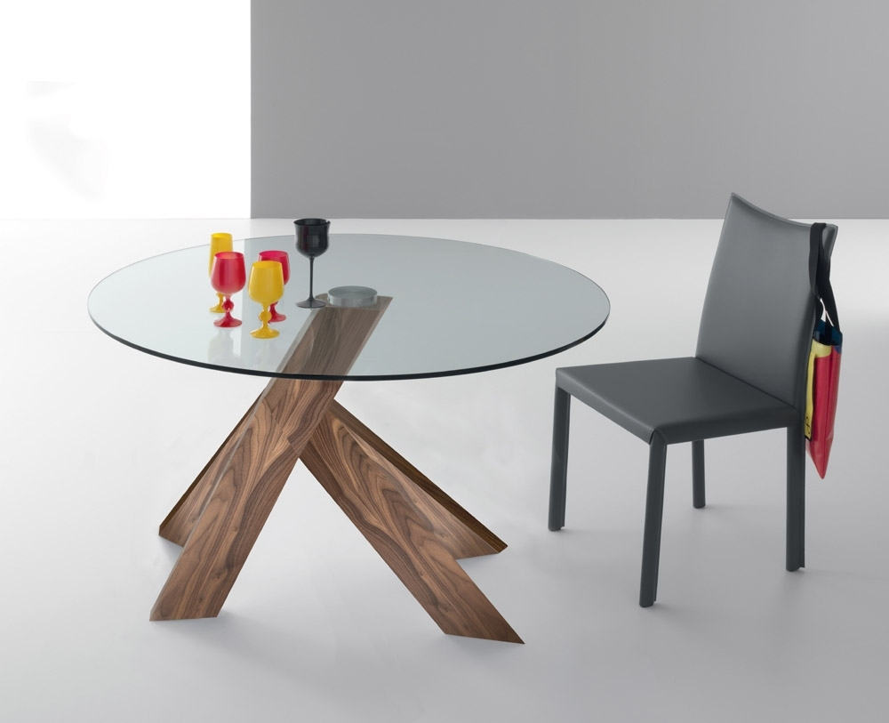 Most Recent Moa Dining Tables Inside Round Glass And Oak Dining Tables (View 13 of 25)