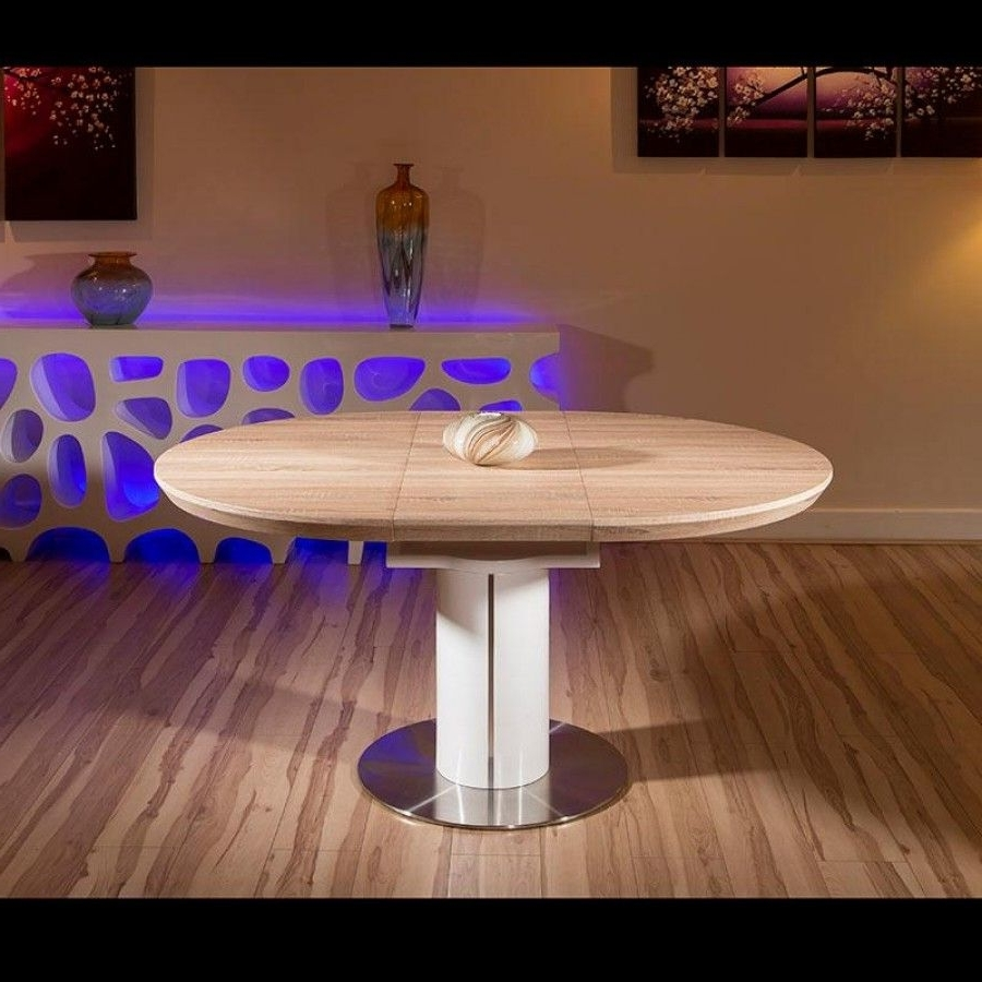 Most Recent Modern Dining Table Oak Veneer Round/oval Extending 1050 – 1350Mm Intended For White Gloss Round Extending Dining Tables (View 13 of 25)