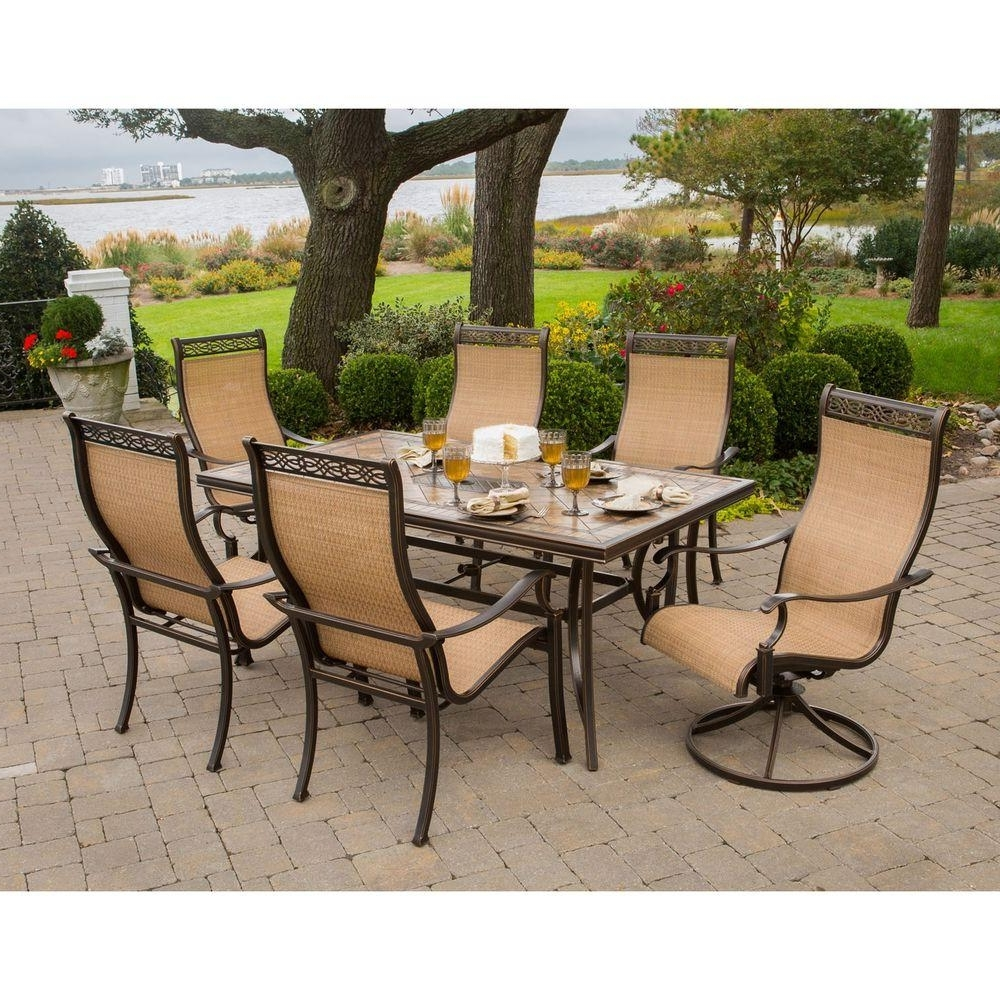 Most Recent Monaco Dining Sets Pertaining To Hanover Monaco 7 Piece Outdoor Patio Dining Set Monaco7Pcsw – The (View 17 of 25)