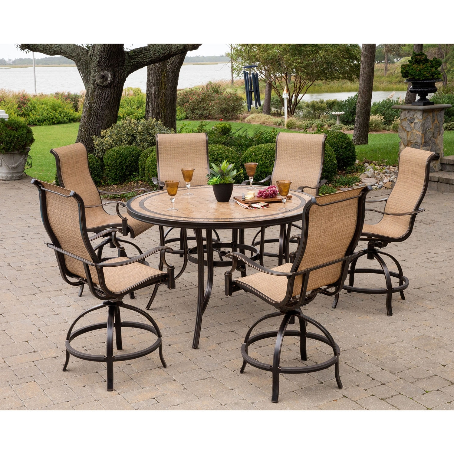 Most Recent Monaco Dining Tables For Monaco 7 Piece High Dining Bar Set With 56 In (View 22 of 25)
