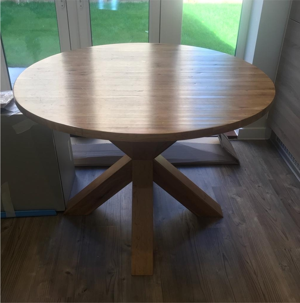 Most Recent Next Hudson Solid Oak Round Dining Table Set Four Chairs (View 9 of 25)
