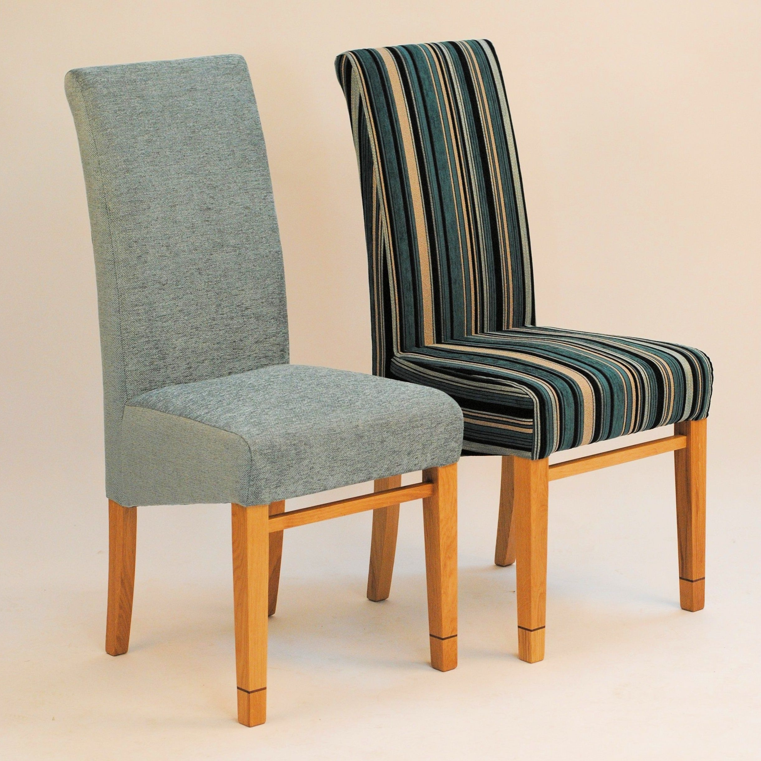 Most Recent Oak Dining Tables And Fabric Chairs Regarding A Pair Of Dining Chairs – Tanner Furniture Designs (View 11 of 25)