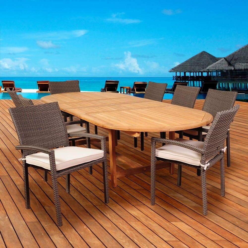 Most Recent Outdoor Brasilia Teak High Dining Tables Regarding Amazonia Leeroy 9 Piece Teak/wicker Double Extendable Oval Patio (View 25 of 25)