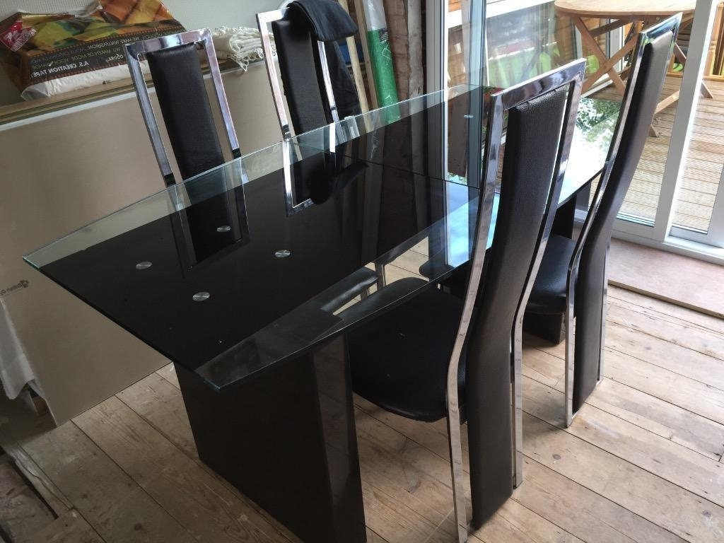Most Recent Roma Dining Tables Regarding Actona Roma Black Gloss Granite Extendable Dining Table With 6 Black (View 2 of 25)