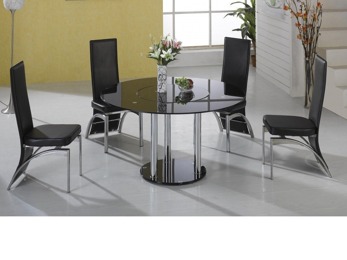 Most Recent Round Black Glass Dining Tables And Chairs Regarding Lazy Susan Round Black Glass Dining Table And 4 Black Faux Gray (View 14 of 25)