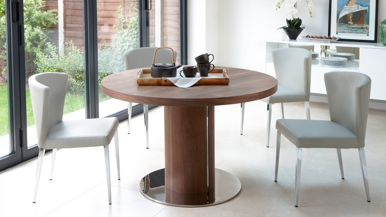 Most Recent Round Wooden Extending Dining Table And Modern Chairs – Youtube Pertaining To Extendable Round Dining Tables Sets (View 16 of 25)