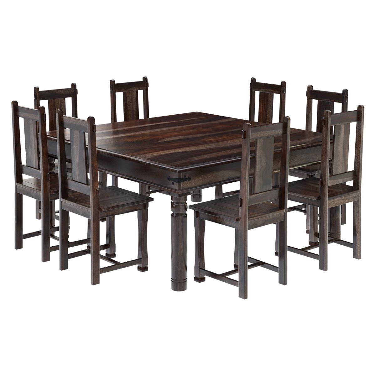 Most Recent Rustic Solid Wood Large Square Dining Table Chair Set, 8 Chair In Solid Oak Dining Tables And 8 Chairs (View 8 of 25)