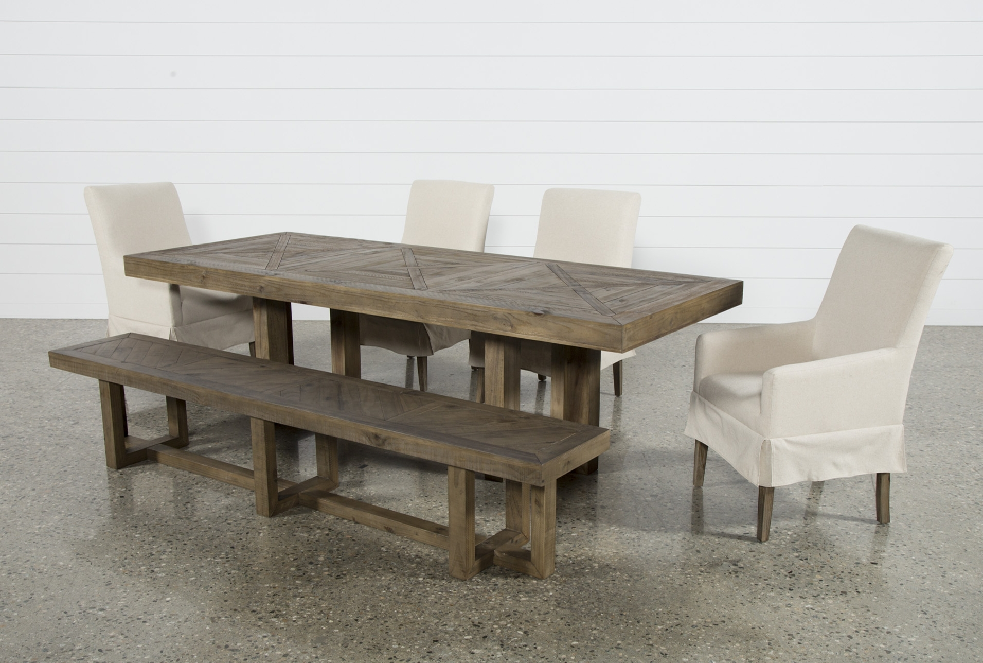 Most Recent Safavieh Jovanna White/oak Acacia Wood 2 Seat Patio Bench Inside Palazzo 6 Piece Dining Set With Mindy Slipcovered Side Chairs (View 11 of 25)