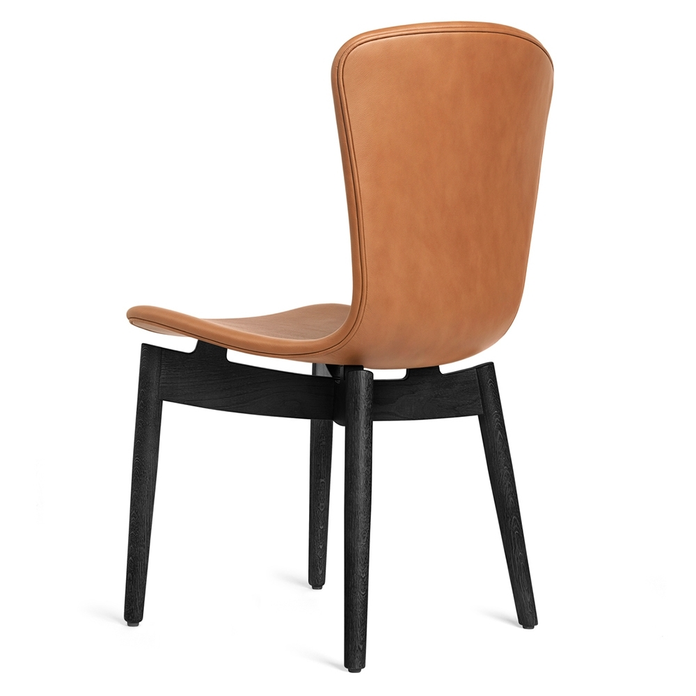 Most Recent Shell Dining Chair – Brandy Leather, Black Oak – Rouse Home Regarding Oak Leather Dining Chairs (View 20 of 25)