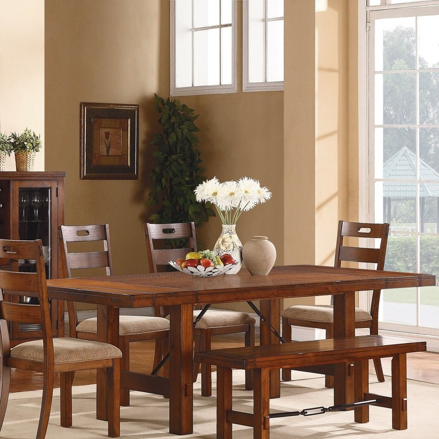 Most Recent Shop Homelegance Clayton Warm Burnished Brown Composite Extending Intended For Valencia 72 Inch 6 Piece Dining Sets (View 10 of 25)