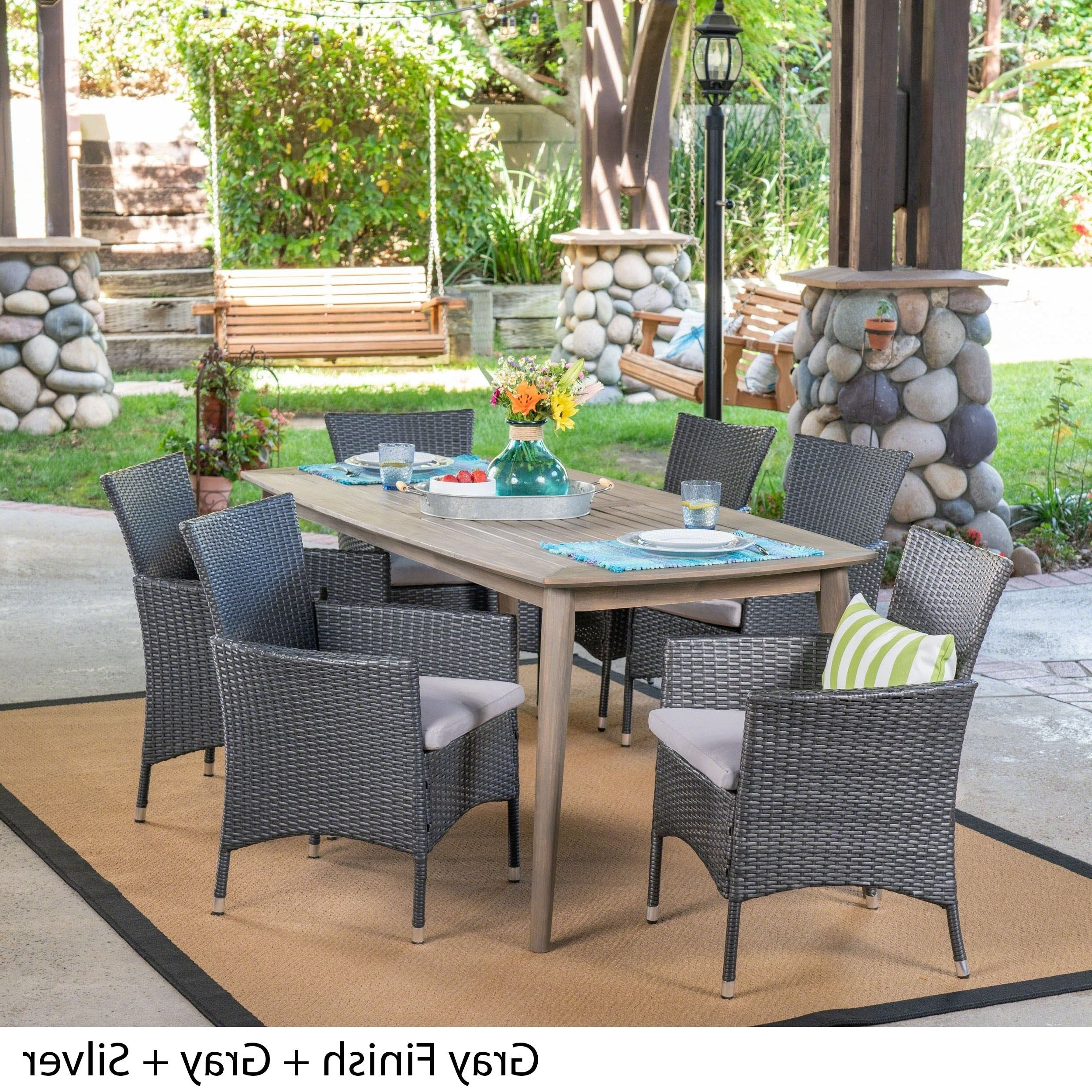 Most Recent Shop Jaxon Outdoor 7 Piece Multibrown Pe Wicker Dining Set With For Jaxon 7 Piece Rectangle Dining Sets With Upholstered Chairs (View 11 of 25)