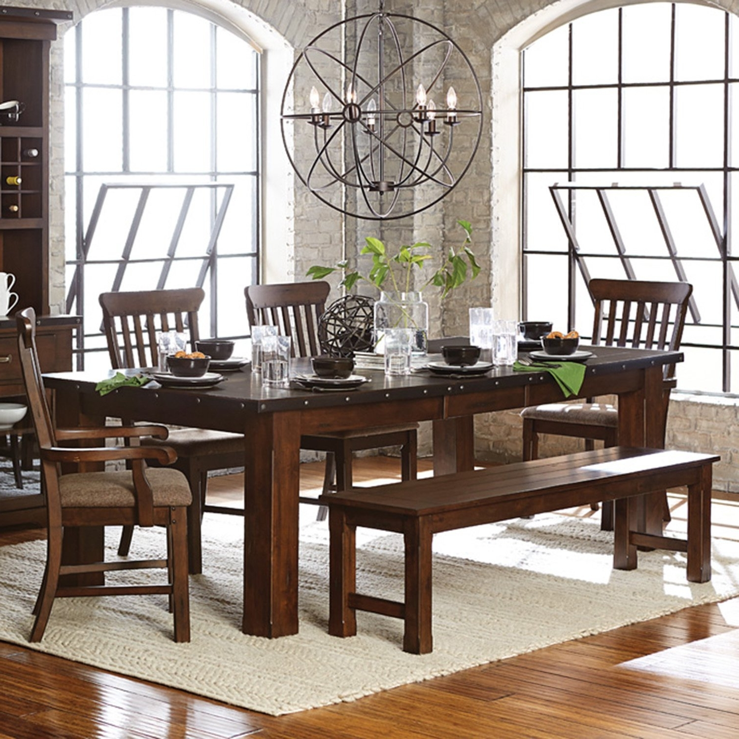 Most Recent Shop Norwood Antique Oak Finish Extending Table Dining Set – Free For Norwood 7 Piece Rectangular Extension Dining Sets With Bench & Uph Side Chairs (Gallery 7 of 25)