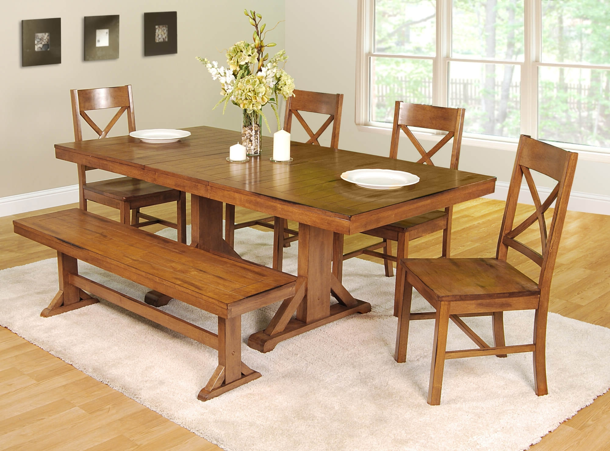 Most Recent Small Dining Tables And Bench Sets Pertaining To 26 Dining Room Sets (Big And Small) With Bench Seating (2018) (View 13 of 25)