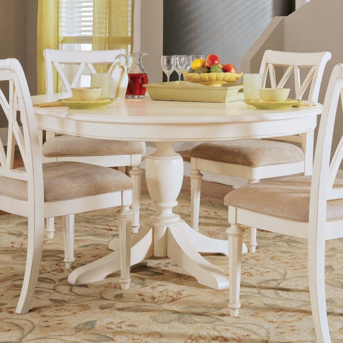 Most Recent Small White Dining Tables Regarding Dining Room Round White Table And Chairs Grey Small Kitchen Sets (View 8 of 25)