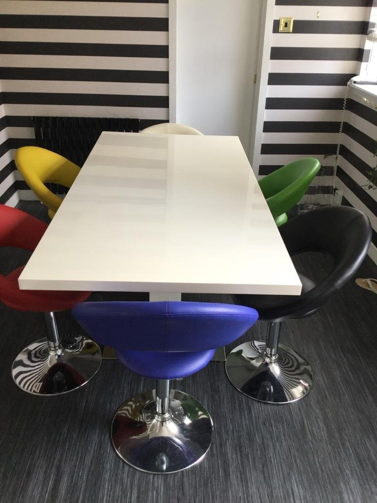 Most Recent Smartie Dining Tables And Chairs With Smartie 6/8 Seater White High Gloss Ding Table With 6 Swivel Seats (Gallery 10 of 25)