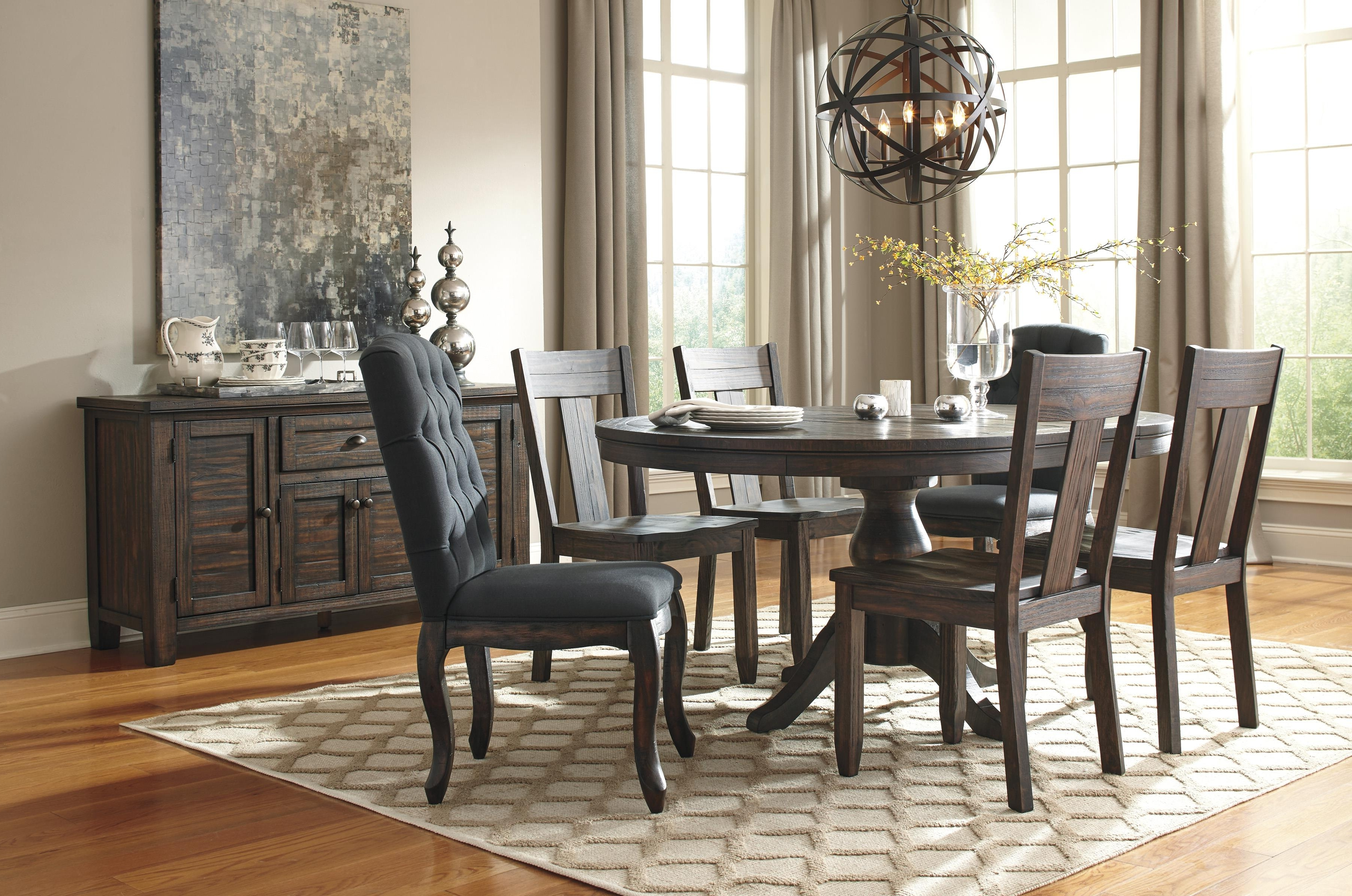 Most Recent Solid Wood Pine Round Dining Room Pedestal Extension Table Pertaining To Craftsman 9 Piece Extension Dining Sets With Uph Side Chairs (View 22 of 25)