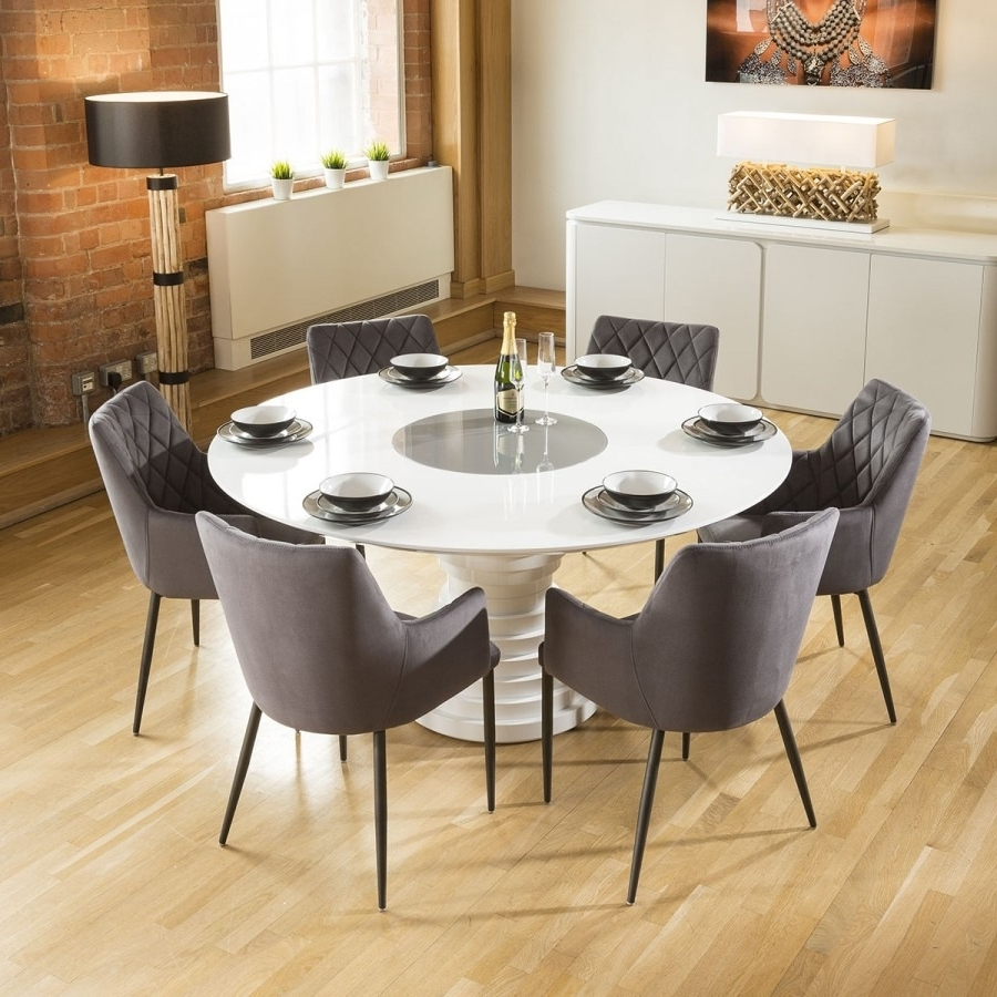 Most Recent Stunning Round White Gloss Dining Table Grey Lazy Susan 6 Grey Chairs With Regard To White Gloss Dining Room Furniture (View 11 of 25)