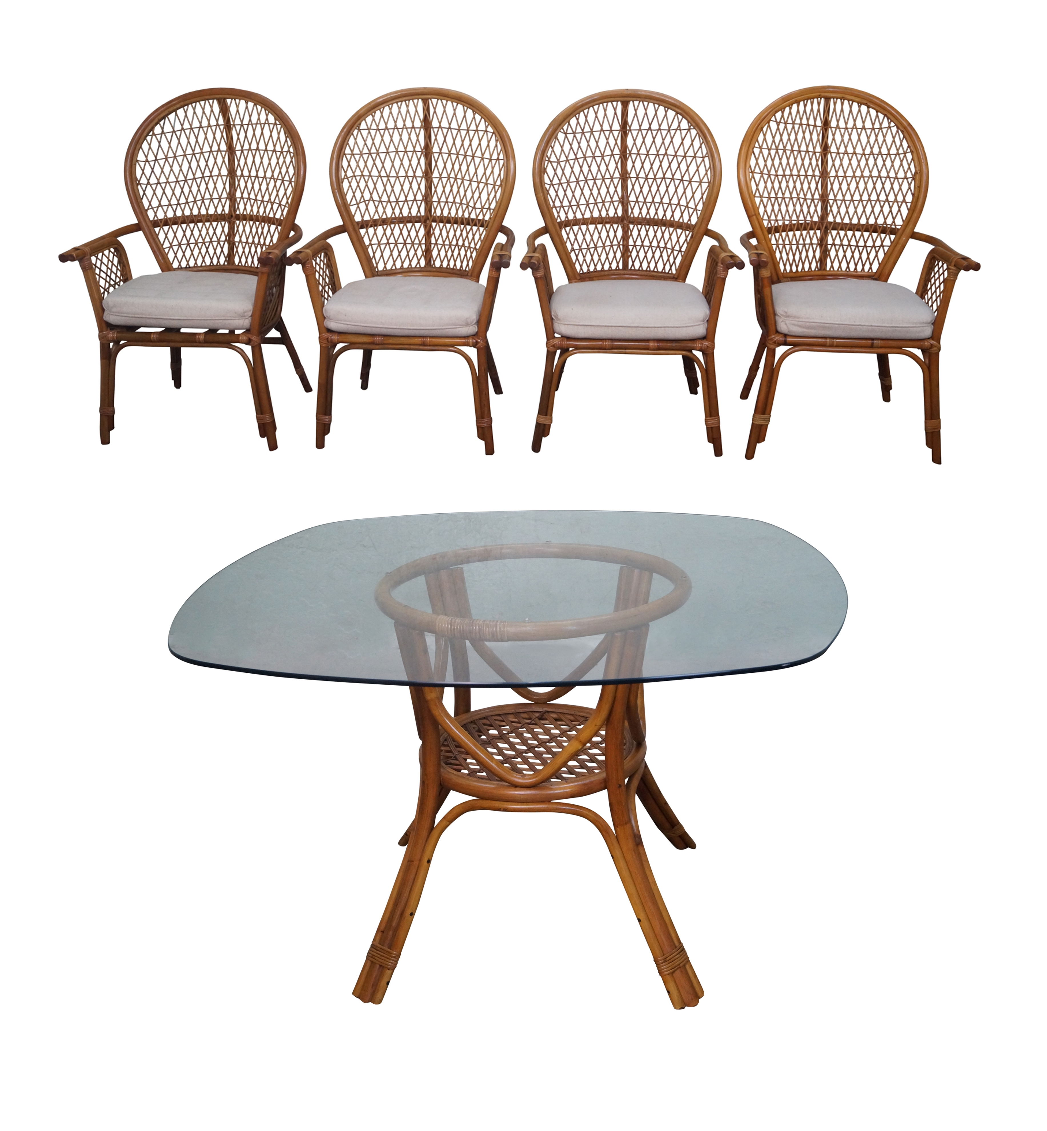 Most Recent Vintage Rattan Glass Top Dining Table & Chair Set Age/country Of Inside Wicker And Glass Dining Tables (View 9 of 25)