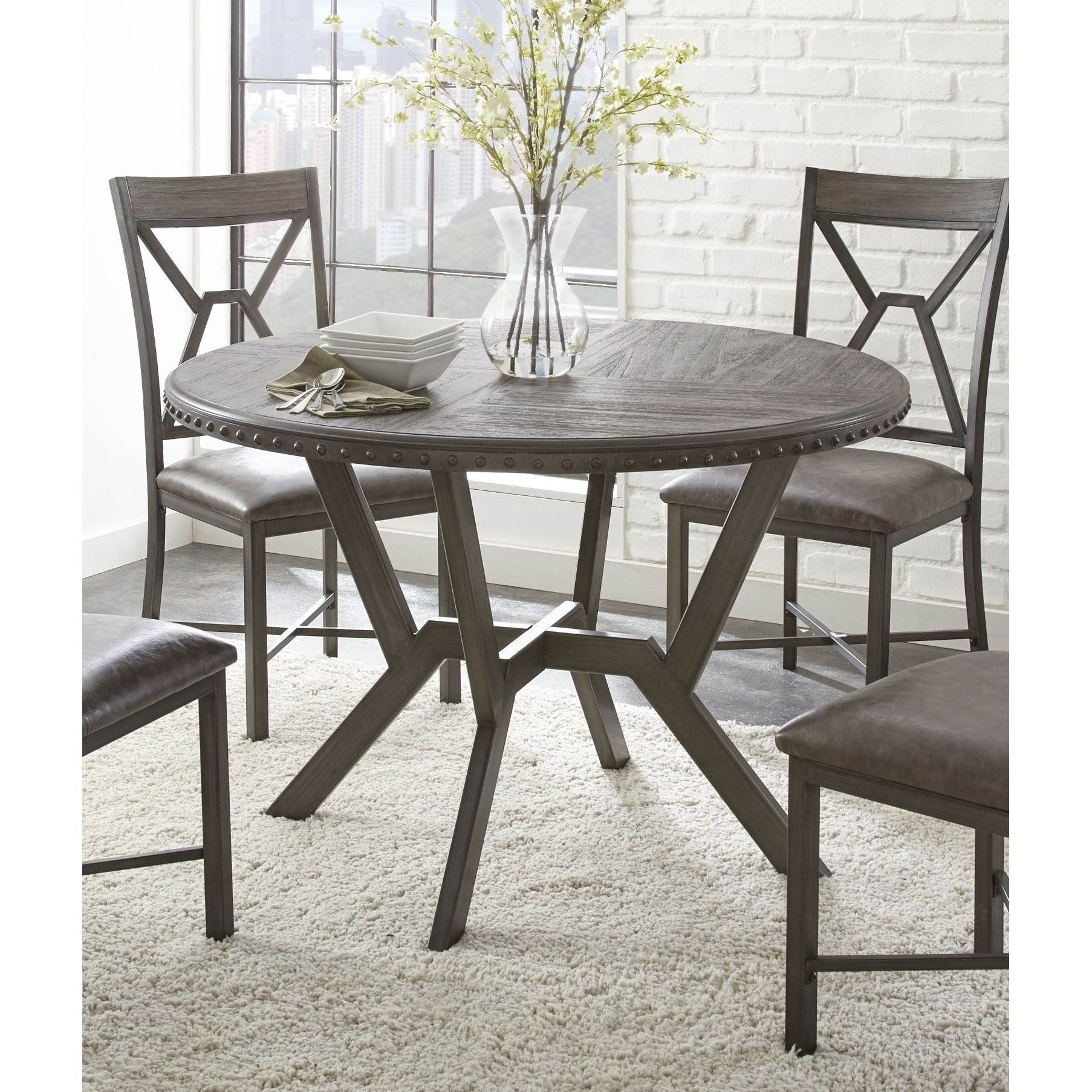 Most Recent Weston Home Farmhouse Dining Chair With Cross Back (Set Of Within Carly 3 Piece Triangle Dining Sets (View 2 of 25)