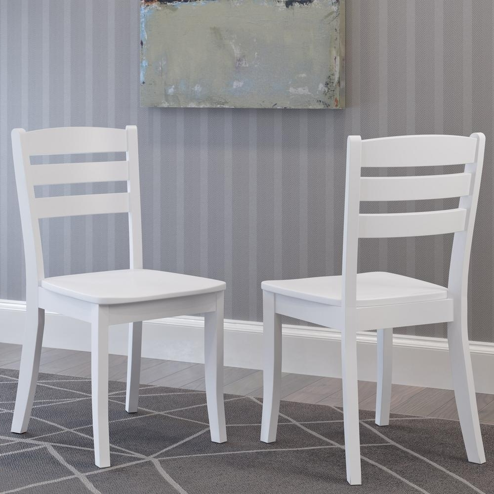 Most Recent White Dining Chairs In Corliving Dillon White Solid Wood Horizontal Salt Backrest Dining (Gallery 8 of 25)