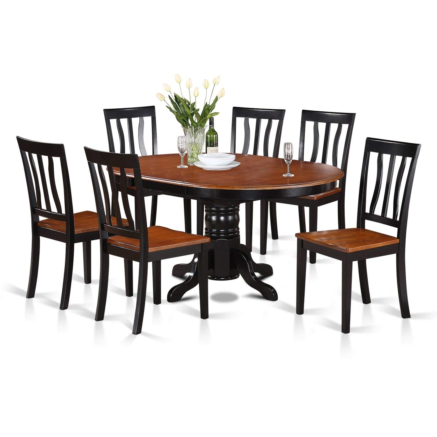 Most Recent Wood Dining Tables And 6 Chairs Within Amazon: East West Furniture Avat7 Blk W 7 Piece Dining Table Set (View 6 of 25)