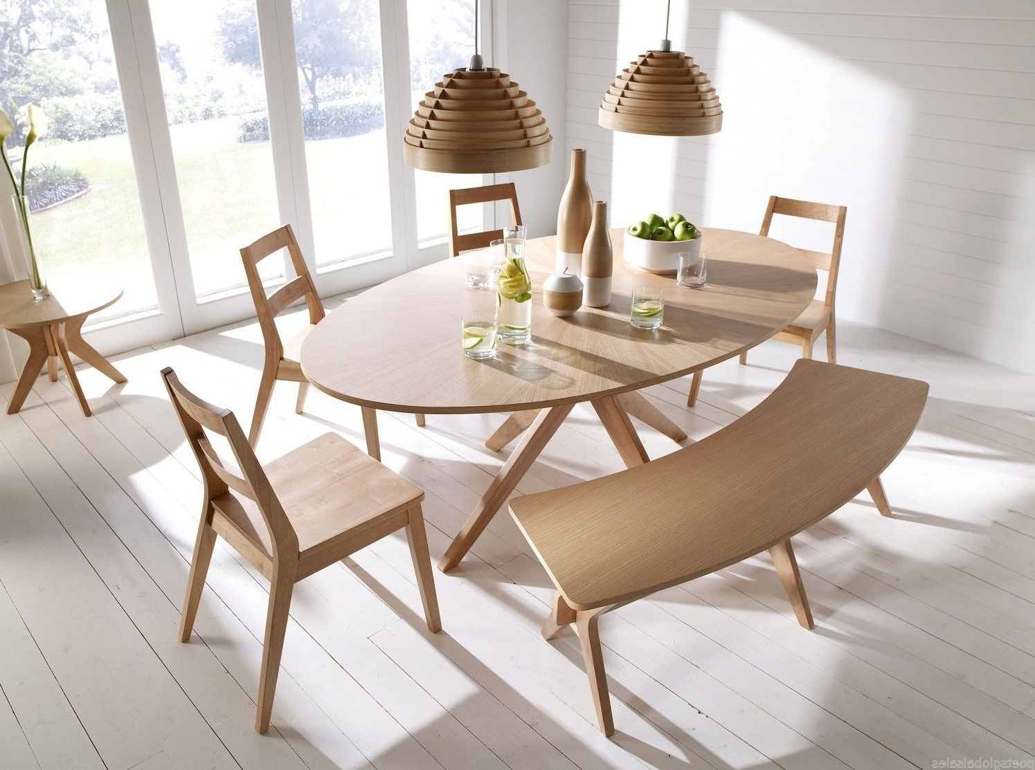 Most Recent Wooden Dining Table Oak Kitchen Living Room Wood Rustic Oval Regarding Ebay Dining Suites (View 18 of 25)