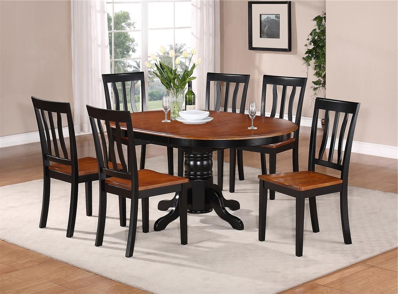 Most Recent Wooden Dining Tables And 6 Chairs For 7 Pc Oval Dinette Kitchen Dining Set Table W/ 6 Wood Seat Chairs In (Gallery 24 of 25)