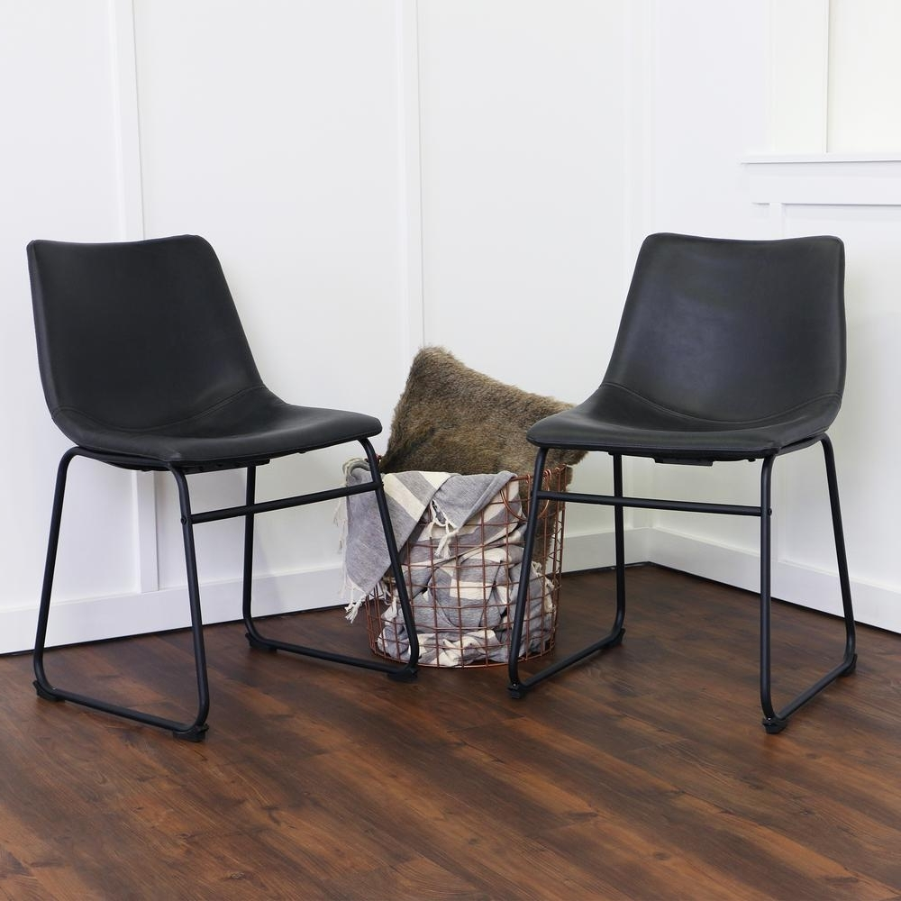 Most Recently Released Black Dining Chairs With Regard To Walker Edison Furniture Company Wasatch Black Faux Leather Dining (Gallery 3 of 25)