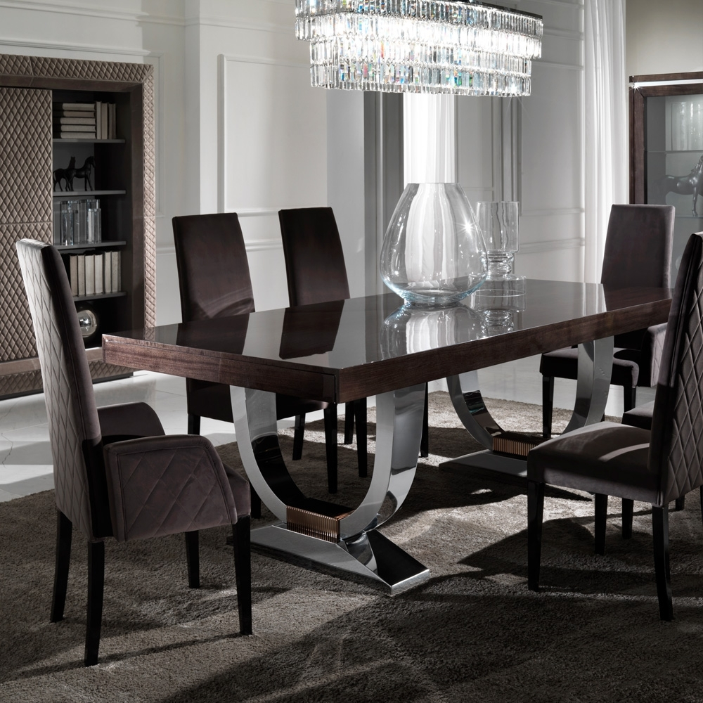 Most Recently Released Black Gloss Dining Room Furniture With Large Modern Italian Veneered Extendable Dining Table (Gallery 4 of 25)