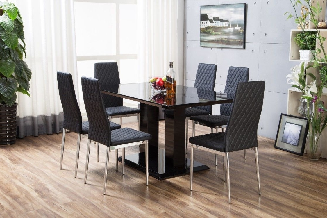 Most Recently Released Black Gloss Dining Tables With Imperia Black High Gloss Dining Table Set And 6 Chrome Leather (Gallery 13 of 25)