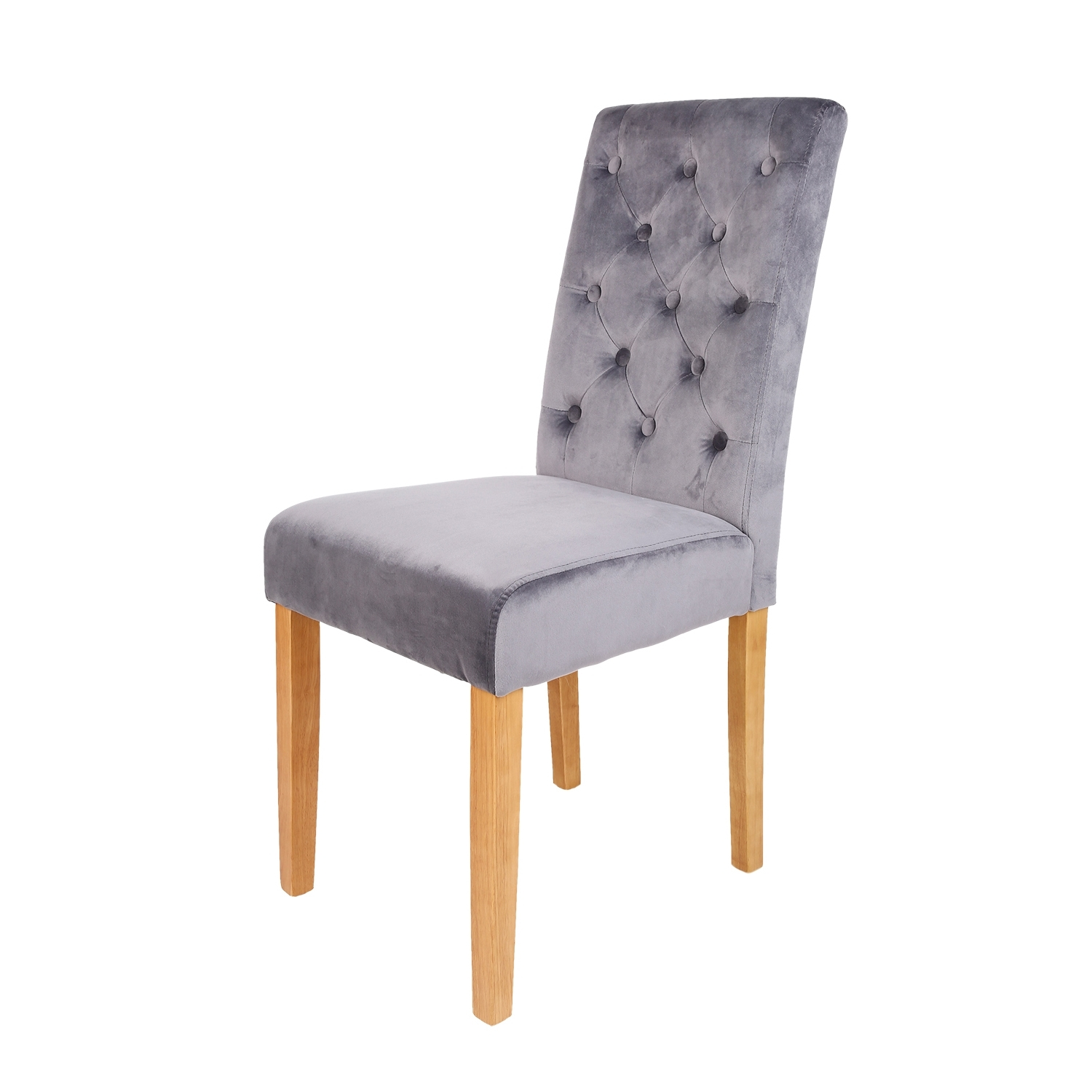 Most Recently Released Button Back Dining Chairs Within Pair Of Dune Grey Button Back Dining Chairs (View 15 of 25)