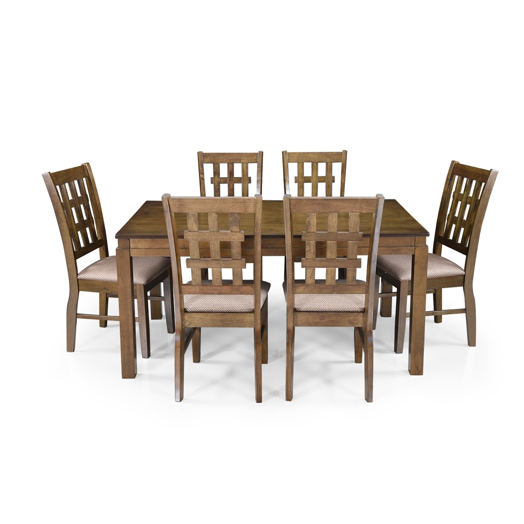 Most Recently Released Buy Royaloak Lilly 6 Seater Solidwood Dining Set With Cushioned For Six Seater Dining Tables (View 12 of 25)