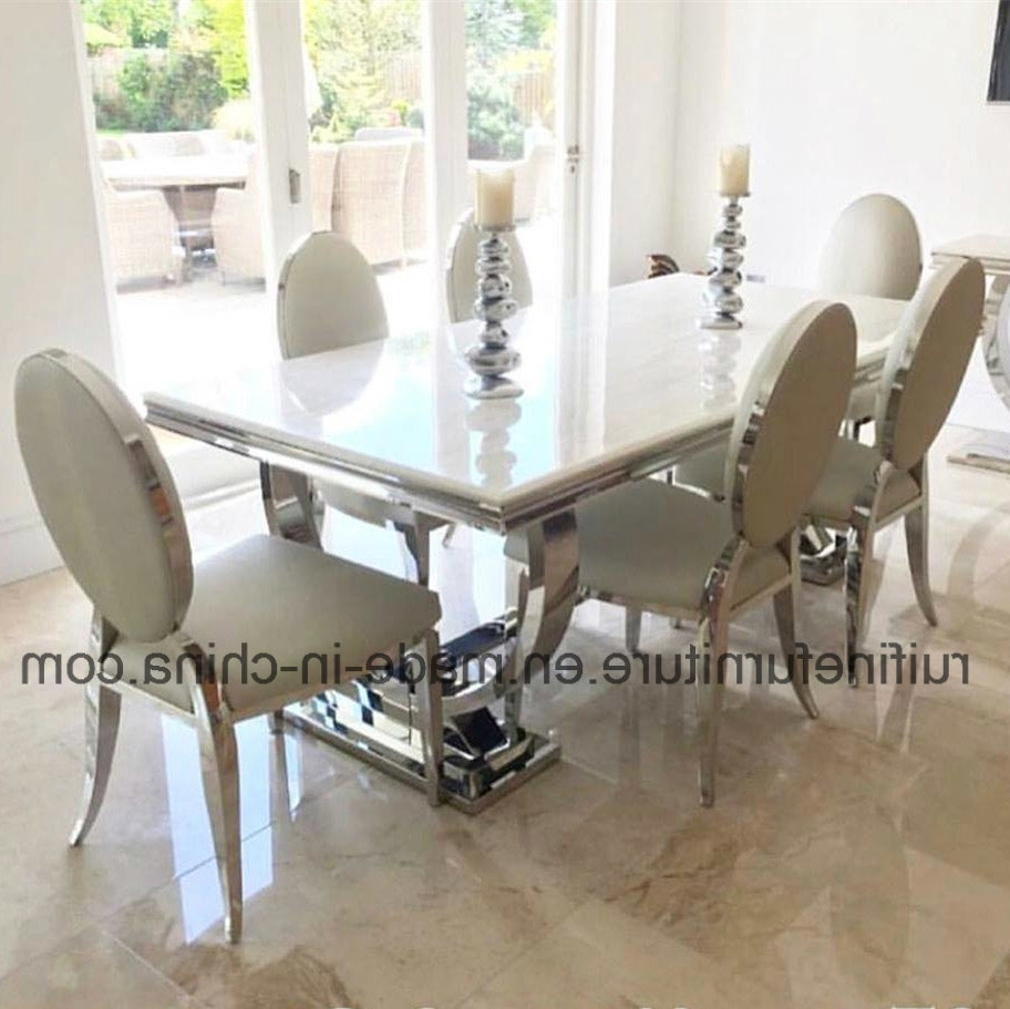 Most Recently Released Chrome Dining Sets For China Modern Stainless Steel Chrome Dining Table Snakeskin Leather (View 14 of 25)