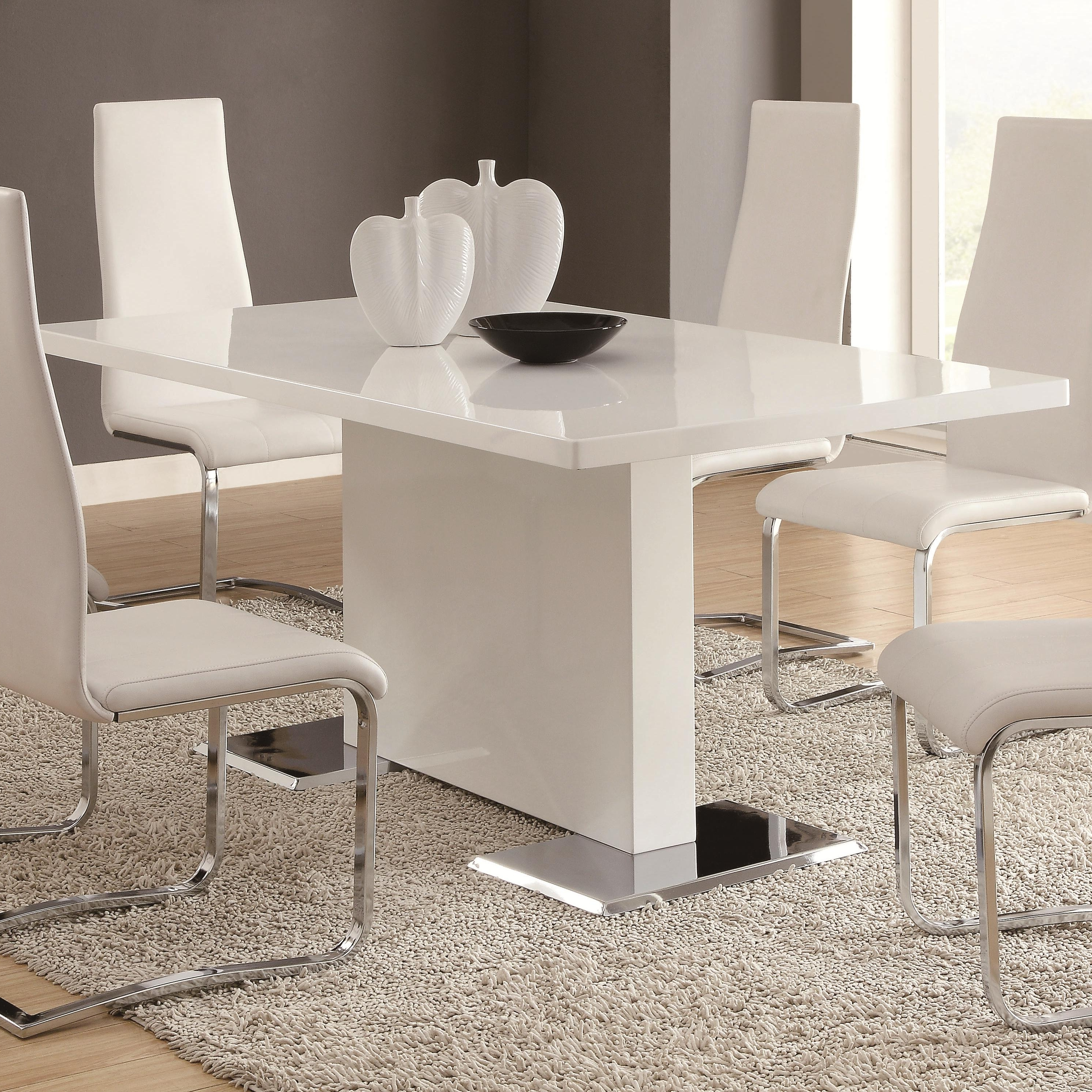 Most Recently Released Coaster Modern Dining 102310 White Dining Table With Chrome Metal For White Square Extending Dining Tables (View 21 of 25)