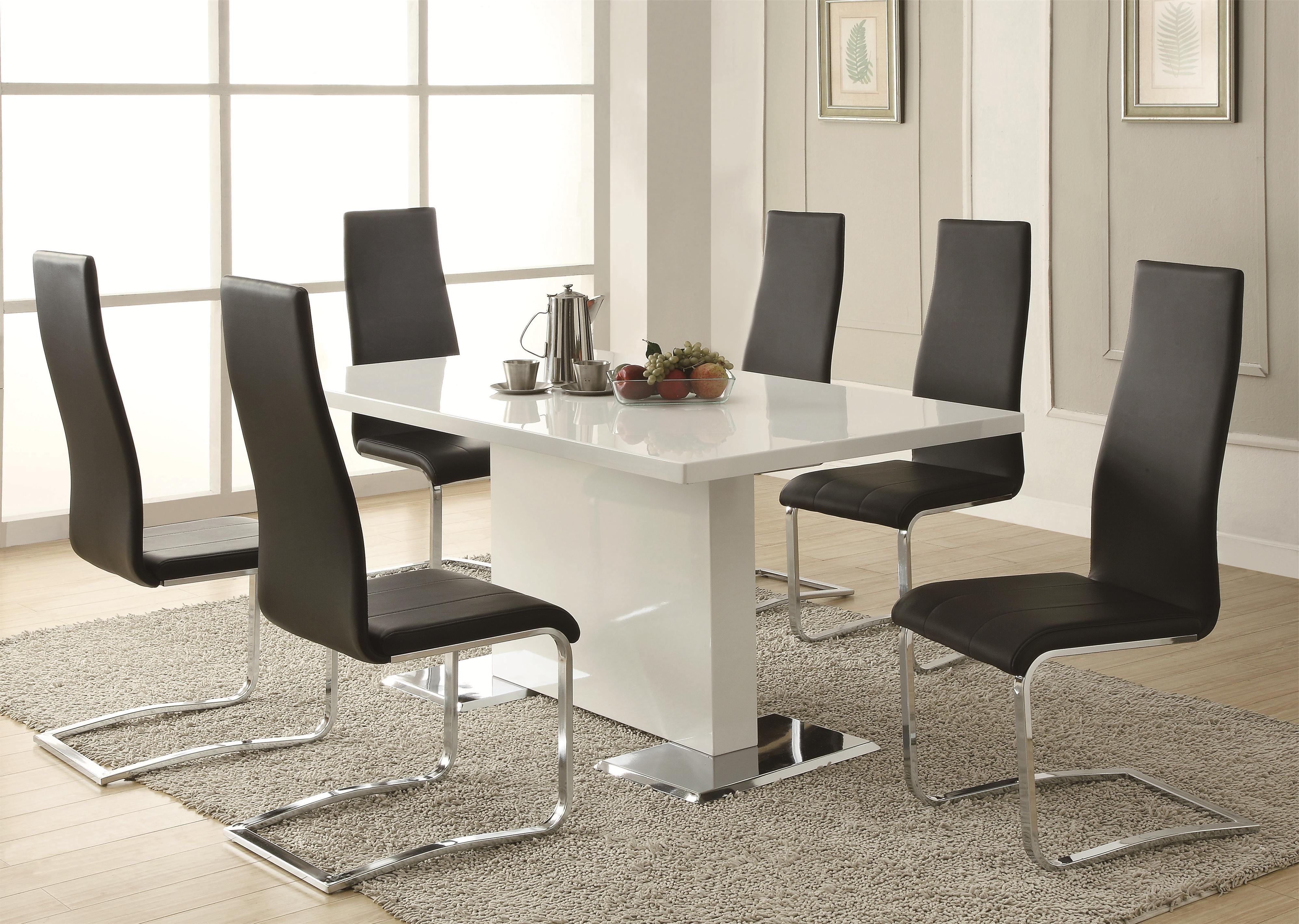 Most Recently Released Coaster Modern Dining 7 Piece White Table & Black Upholstered Chairs Within Modern Dining Table And Chairs (View 19 of 25)