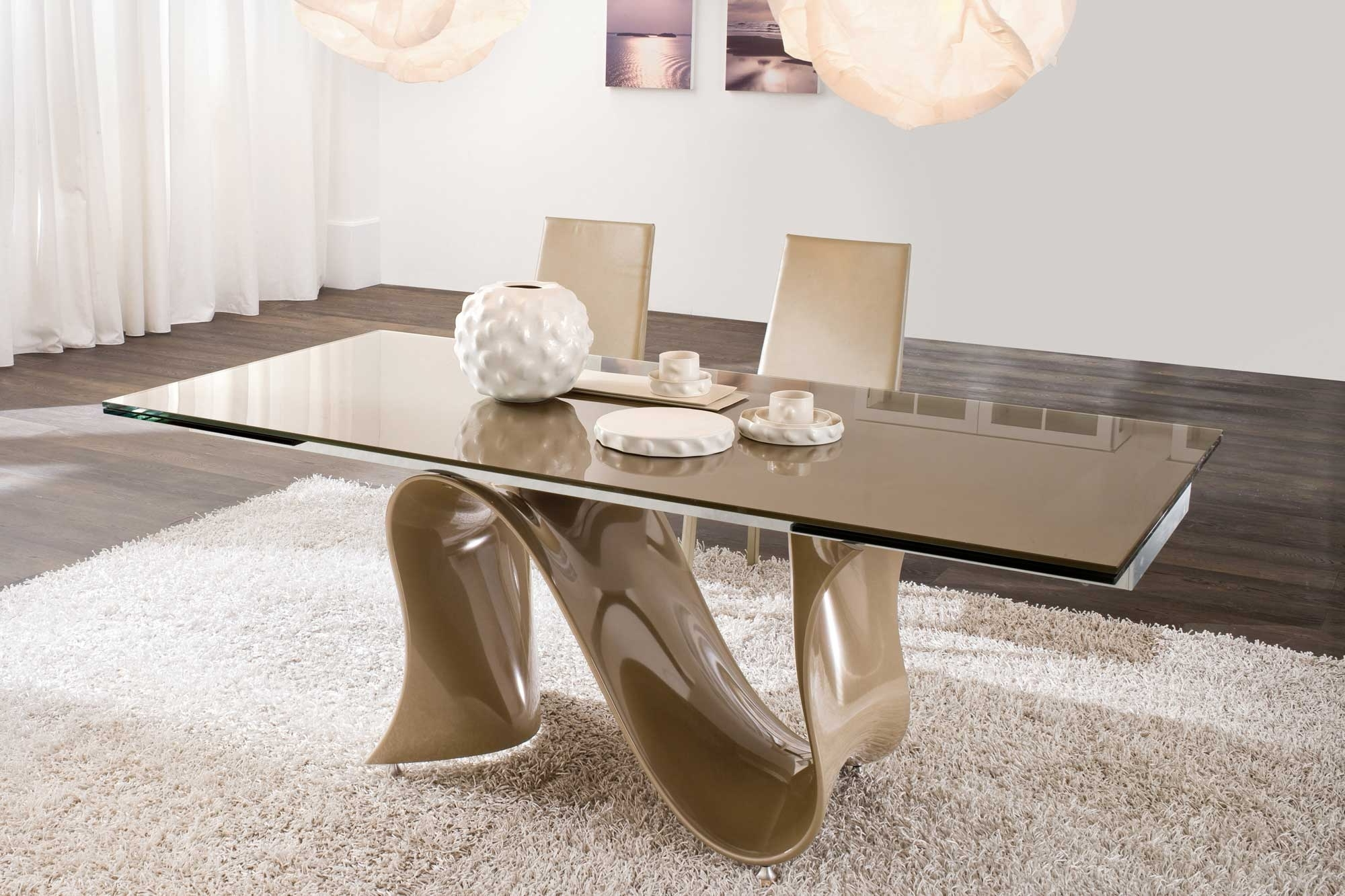 Most Recently Released Contemporary Base Dining Tables In Unique Modern Dining Table With Spiral Base Legs On White Area Fur (View 18 of 25)