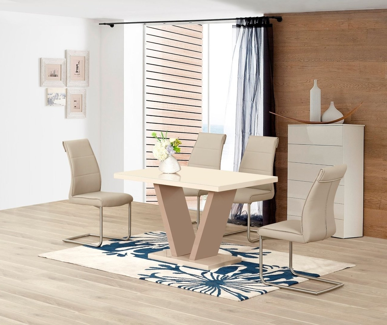 Most Recently Released Cream High Gloss Dining Table And 4 Taupe Chairs – Homegenies Throughout Cream High Gloss Dining Tables (View 19 of 25)