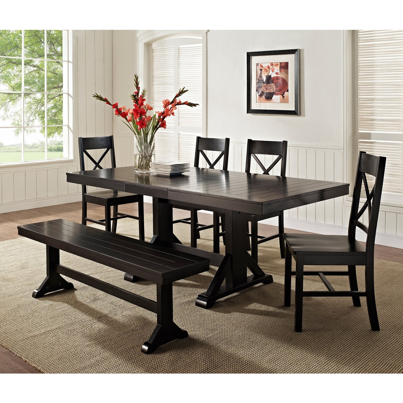 Most Recently Released Dark Wood Dining Tables 6 Chairs Pertaining To Walker Edison Black 6 Piece Solid Wood Dining Set With Bench (Gallery 17 of 25)
