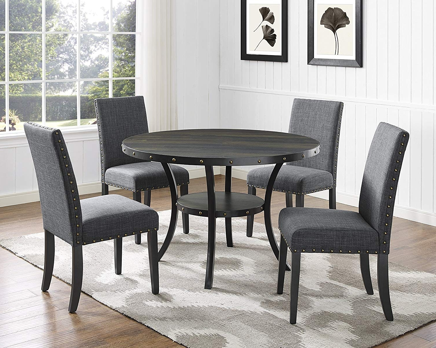 Most Recently Released Dining Tables And Fabric Chairs Throughout Amazon – Roundhill Furniture D162Gy Biony Dining Collection (View 22 of 25)